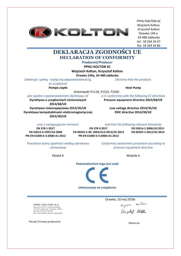 Certyfikat - deklaracja zgodności UE Kołton